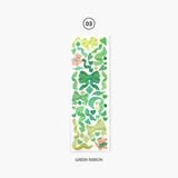Green ribbon - Second Mansion Hologram confetti removable sticker seal 01-06