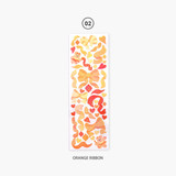 Orange ribbon - Second Mansion Hologram confetti removable sticker seal 01-06