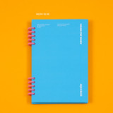 Aqua blue - Ardium Color pop 10 rings dateless monthly diary planner