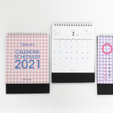 ICIEL 2021 Gingham check dated monthly desk calendar