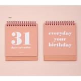 Pink - Ardium 31 days dateless daily desk calendar