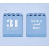 Blue - Ardium 31 days dateless daily desk calendar