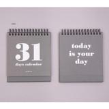 Gray - Ardium 31 days dateless daily desk calendar