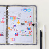 Usage example - Wanna This Palette grid A5 size 6 holes paper refills set