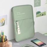Tea green - ICONIC Cottony iPad tablet PC 11 inches zipper sleeve case