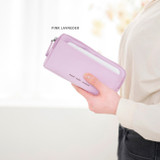 Pink lavender - Byfulldesign Oxford multi pocket long zipper pouch