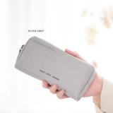 Silver gray - Byfulldesign Oxford multi pocket long zipper pouch