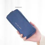 Evening blue -  Byfulldesign Oxford multi pocket long zipper pouch