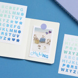 Alphabet green blue - Indigo Color and Gradation Alphabet sticker set