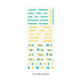 Yellow & Green - Indigo Months of the year PET clear sticker