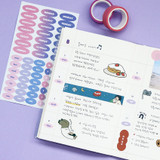 Usage example - Indigo Day of the week paper sticker
