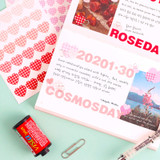 Usage example - Wanna This Heart check medium deco sticker set of 3 sheets