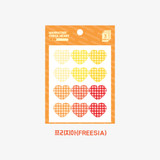 Freesia -  Wanna This Heart check large deco sticker set of 3 sheets