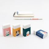 Bookfriends Reading pet white pencil eraser
