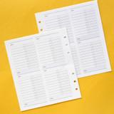 Jam Studio Budget planner wide A6 6 ring paper refill set