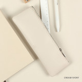 Cream ivory - Dash And Dot Be simple synthetic leather zipper pencil case