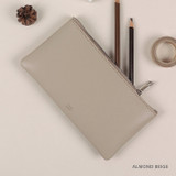 Almond Beige - Dash And Dot Be simple synthetic leather zipper pen pouch
