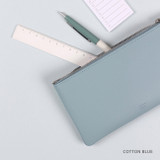 Cotton Blue - Dash And Dot Be simple synthetic leather zipper pen pouch