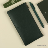 Forest Green - Dash And Dot Be simple synthetic leather zipper pen pouch