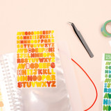Usage example - Basic 20 rings sticker organizer book with Alphabet stickers