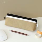 Beige - Indigo Mungunyang triangle zipper pencil case pouch
