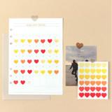 Heart medium clear sticker set of 3 sheets