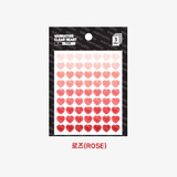 Rose - Heart small clear sticker set of 3 sheets