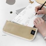 Oatmeal - 2NUL Pencil keeper flat zipper cotton pen case
