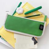 Green - 2NUL Pencil keeper flat zipper cotton pen case