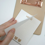 Usage example - N.IVY Cozy Bear clipboard holder with sticky notepad