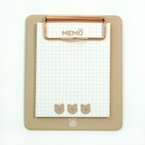 Front - N.IVY Cozy Bear clipboard holder with sticky notepad