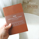 Brown - Indigo 2022 Official soft dated weekly diary planner