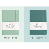 Mint latte, Blue green - Indigo 2022 Prism B6 Dated Monthly Diary Planner
