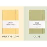 Milky Yellow, Olive - Indigo 2022 Prism B6 Dated Monthly Diary Planner