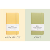 Milky Yellow, Olive - Indigo 2022 Prism Slim Dated Monthly Diary Planner
