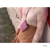 Violet - Soft chamude smartphone strap pouch