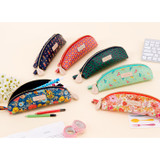Half moon zipper pencil case with flower pattern