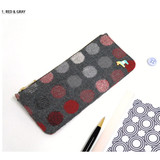 Red & Gray - Pony circle pattern flat pouch pencil case