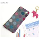 Purple & Gray - Pony circle pattern flat pouch pencil case