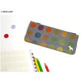 Green & Gray - Pony circle pattern flat pouch pencil case