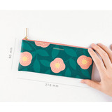 Size of Promenade flower pattern wide zipper pouch