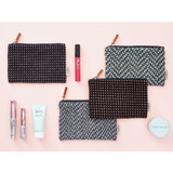 Wool pattern flat zipper medium pouch