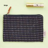 Beige - Wool pattern flat zipper medium pouch
