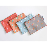 Mr.wood pattern zip flat pouch