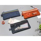 Double pocket mesh zipper pen pouch