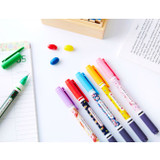 Pattern bright color 0.4mm twin gel pen