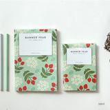 Mint - Breezy windy flower pattern lined notebook
