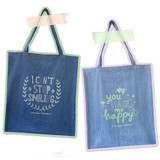Denim canvas tote shoulder bag