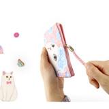 Detail of Choo Choo cat vanilla candy zipper pouch