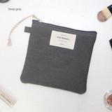 Deep gray - Wish blossom mind small zipper pouch